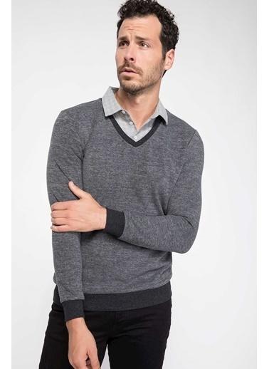 DeFacto Gömlek Yakalı Sweatshirt Antrasit